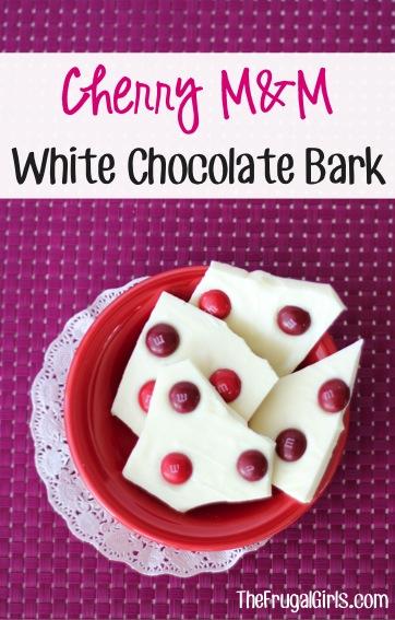Cherry M&M White Chocolate Bark Recipe from TheFrugalGirls.com