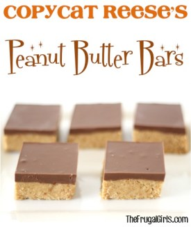 Copycat Reese's Peanut Butter Bars Recipe at TheFrugalGirls.com
