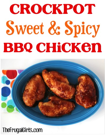 Crockpot Sweet and Spicy Barbecue Chicken Recipe from TheFrugalGirls.com