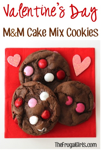 Valentine's Day M&M Cake Mix Cookies Recipe at TheFrugalGirls.com