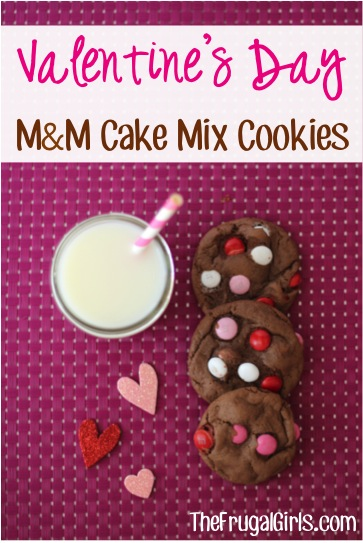 Valentine's Day M&M Cake Mix Cookies Recipe from TheFrugalGirls.com