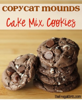 Copycat Mounds Cake Mix Cookies Recipe - from TheFrugalGirls.com