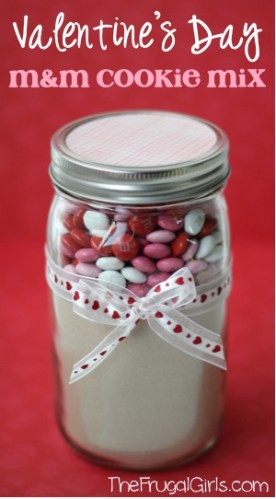 Valentine's Day M&M Cookie Mix in a Jar from TheFrugalGirls.com