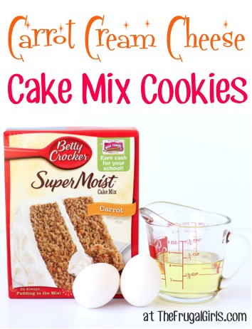 Carrot Cream Cheese Cake Mix Cookies Recipe from TheFrugalGirls.com