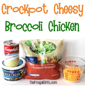 Crockpot Cheesy Broccoli Chicken Recipe at TheFrugalGirls.com