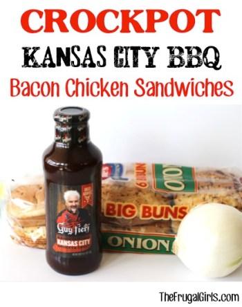 Crockpot Kansas City BBQ Bacon Chicken Sandwiches Recipe at TheFrugalGirls.com