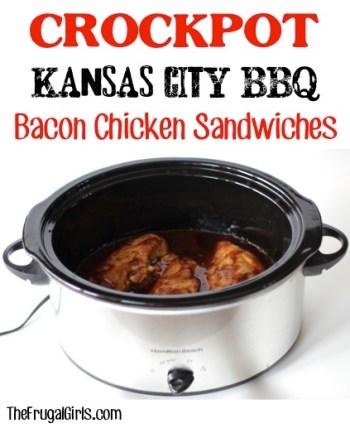 Crockpot Kansas City BBQ Bacon Chicken Sandwiches Recipe - from TheFrugalGirls.com