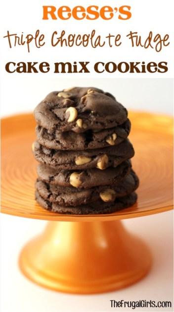 Reese's Triple Chocolate Fudge Cake Mix Cookies - from TheFrugalGirls.com