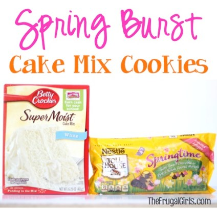Spring Burst Cake Mix Cookies Recipe from TheFrugalGirls.com