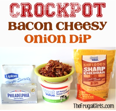 Crockpot Bacon Cheesy Onion Dip Recipe - at TheFrugalGirls.com