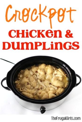 Crockpot Chicken and Dumpling Recipe from TheFrugalGirls.com