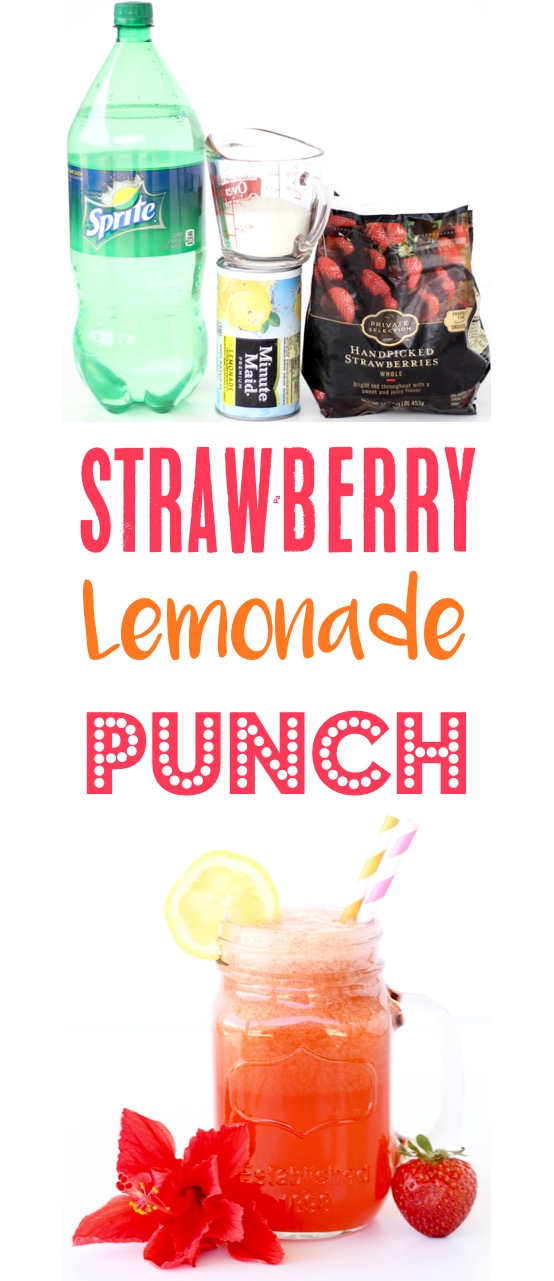 Strawberry Lemonade Punch Recipe Easy Party Punches from TheFrugalGirls.com