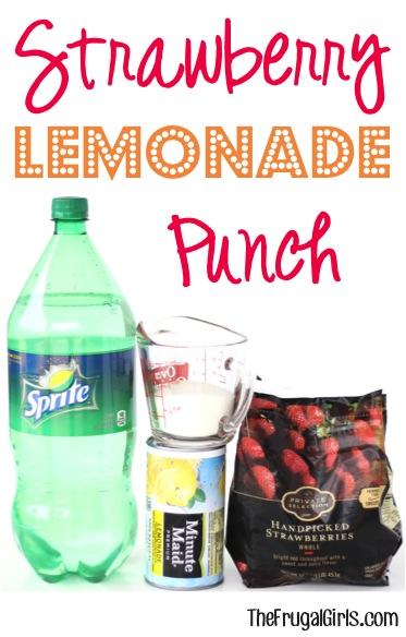Strawberry Lemonade Punch Recipe - from TheFrugalGirls.com