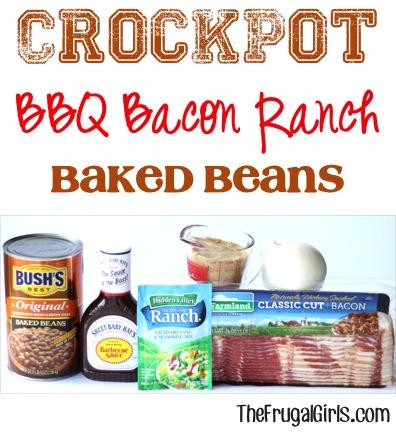 Crockpot BBQ Bean Recipe at TheFrugalGirls.com