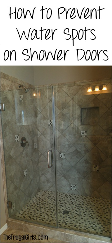 How to Prevent Water Spots on Shower Doors - Tip at TheFrugalGirls.com