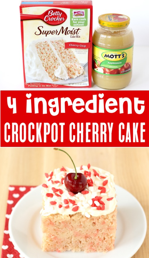 Crockpot Desserts with Cake Mixes Recipes - Easy 4 Ingredients Cherry Chip Cake Recipe