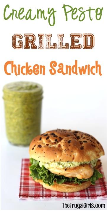 Creamy Pesto Grilled Chicken Sandwich Reipe - from TheFrugalGirls.com