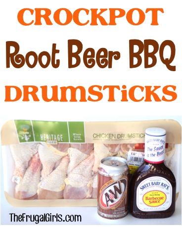 Crockpot Root Beer BBQ Drumsticks Recipe from TheFrugalGirls.com