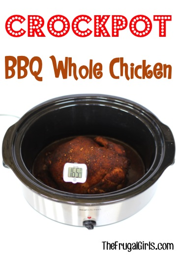 Crockpot Whole Barbecue Chicken Recipe from TheFrugalGirls.com