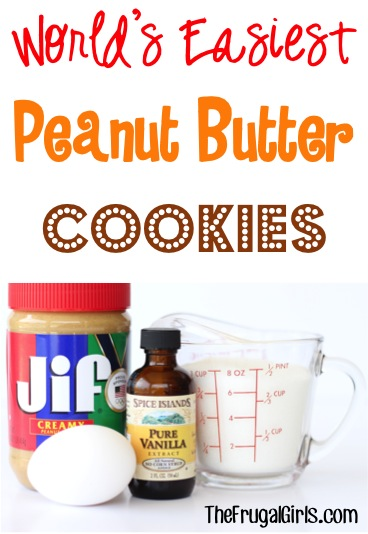 Easy Peanut Butter Cookie Recipe at TheFrugalGirls.com