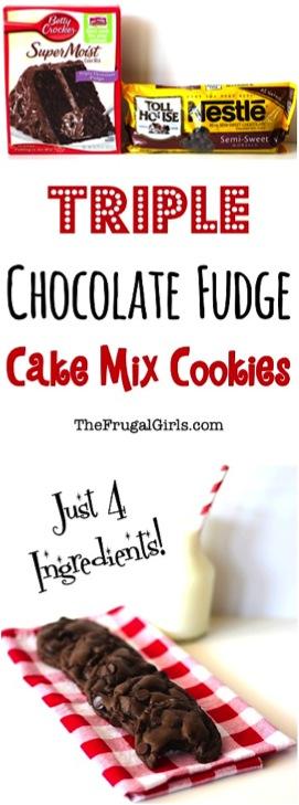 Triple Chocolate Fudge Cake Mix Cookies Recipe