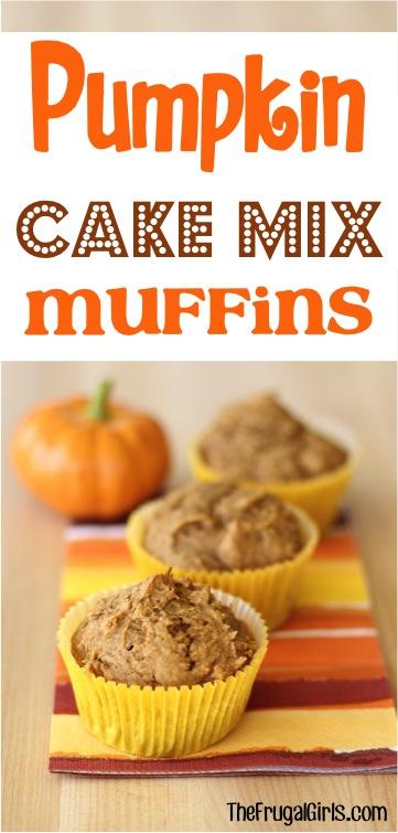 Pumpkin Cake Mix Muffins Recipe from TheFrugalGirls.com