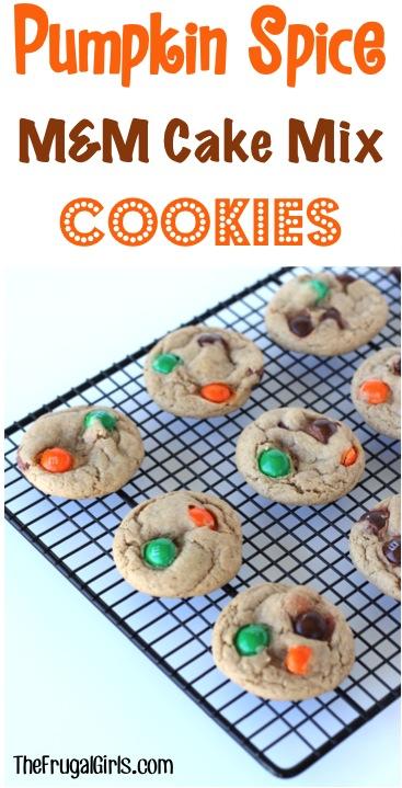Pumpkin Spice M&M Cake Mix Cookie Recipe from TheFrugalGirls.com
