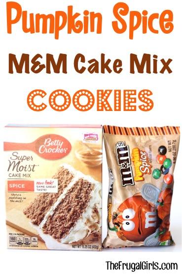 Pumpkin Spice M&M Cake Mix Cookie Recipe - from TheFrugalGirls.com