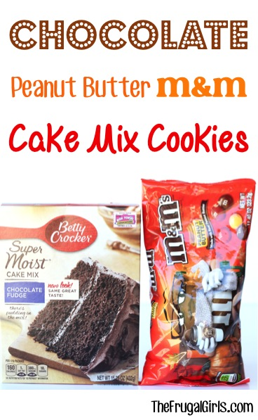 Chocolate Peanut Butter M&M Cake Mix Cookie Recipe - from TheFrugalGirls.com