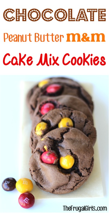 Chocolate Peanut Butter M&M Cake Mix Cookies Recipe from TheFrugalGirls.com