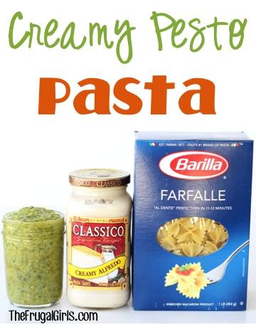 Creamy Pesto Pasta Recipe at TheFrugalGirls.com