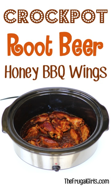 Crockpot Root Beer Barbecue Chicken Wings Recipe from TheFrugalGirls.com
