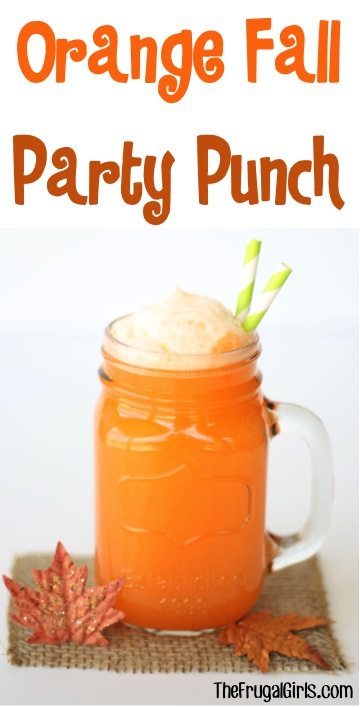 Orange Fall Party Punch Recipe from TheFrugalGirls.com