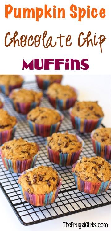 Pumpkin Spice Chocolate Chip Muffins Recipe - at TheFrugalGirls.com