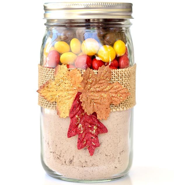 Chocolate Peanut Butter M&M Cookie Mix in a Jar