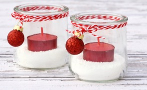 DIY Glass Christmas Candle Holders at TheFrugalGirls.com