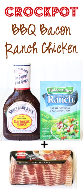 Crockpot Barbecue Bacon Ranch Chicken Recipe - from TheFrugalGirls.com