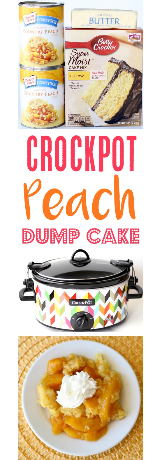 Crockpot Peach Dump Cake Recipe Easy | TheFrugalGirls.com