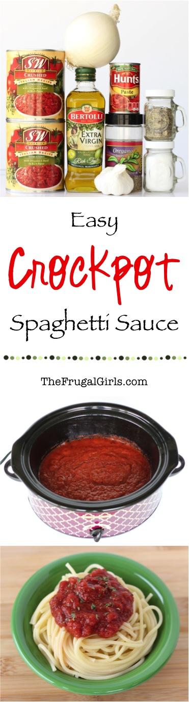 Easy Crockpot Spaghetti Sauce Recipe from TheFrugalGirls.com