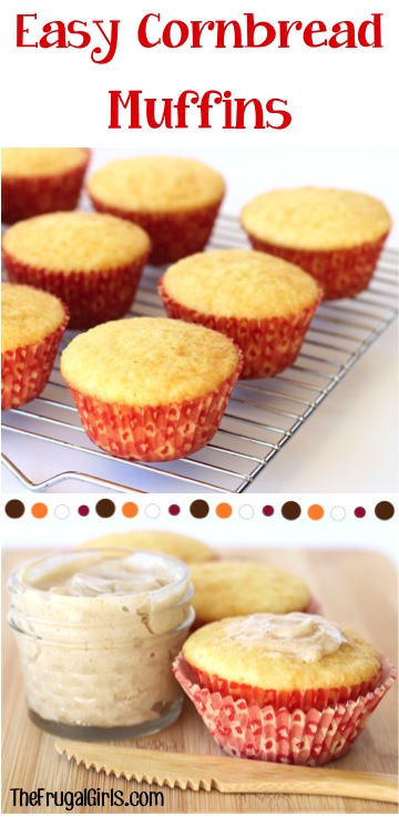 Easy Cornbread Muffins Recipe at TheFrugalGirls.com