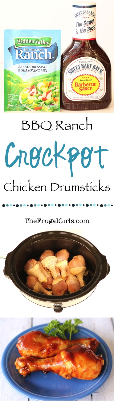 Crockpot BBQ Ranch Chicken Drumsticks Recipe from TheFrugalGirls.com