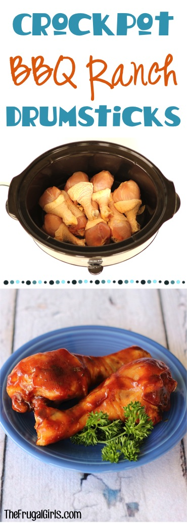 Crockpot Barbecue Ranch Chicken Drumstick Recipe from TheFrugalGirls.com