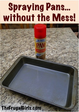 Spraying Pans without the Mess