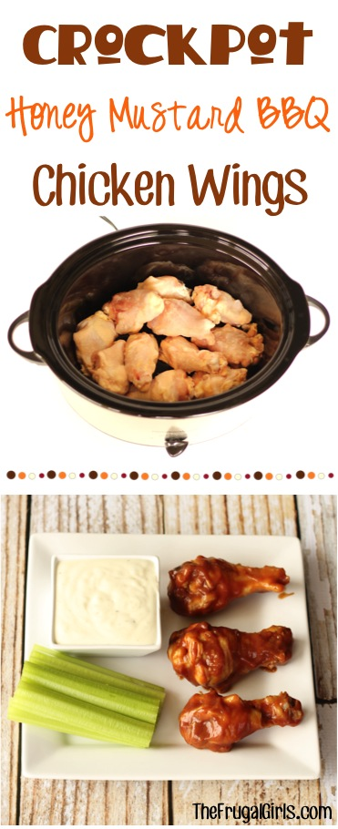 Crockpot Honey Mustard Barbecue Chicken Wing Recipe from TheFrugalGirls.com