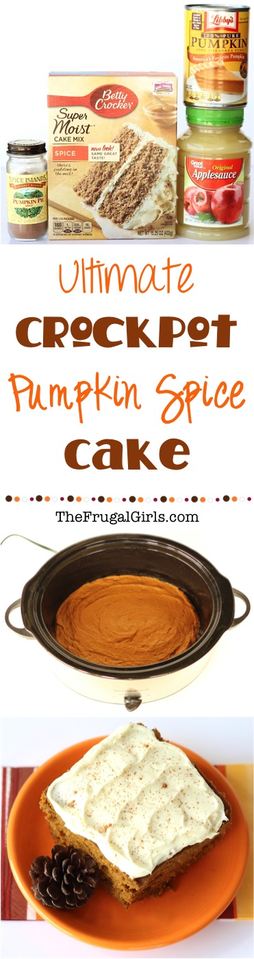 Crockpot Pumpkin Spice Cake Recipe from TheFrugalGirls.com