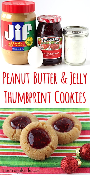 Peanut Butter and Jelly Thumbprint Cookies Recipe from TheFrugalGirls.com