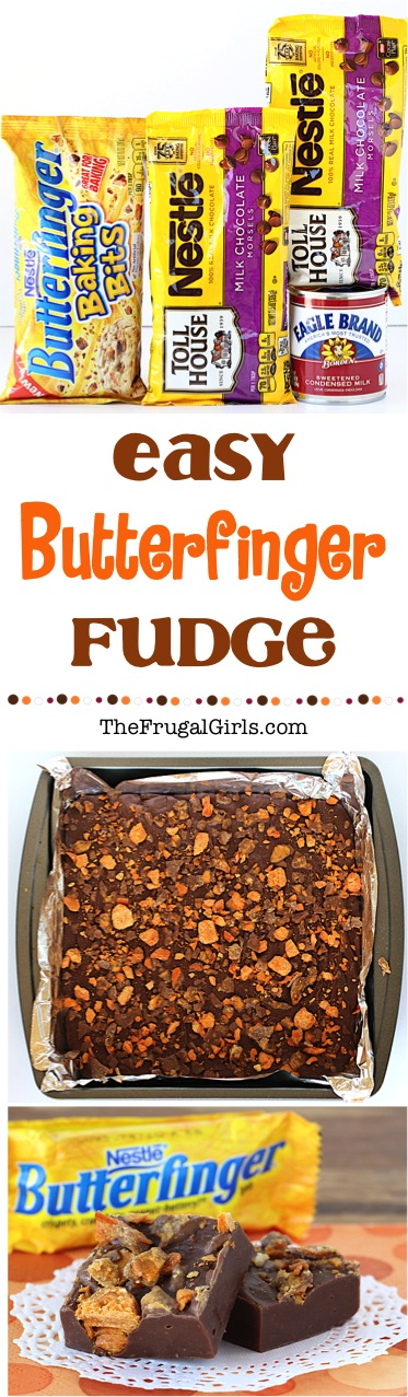 Butterfinger Fudge Recipe from TheFrugalGirls.com