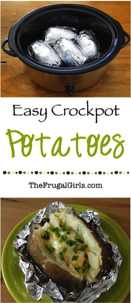 Crockpot Baked Potatoes from TheFrugalGirls.com
