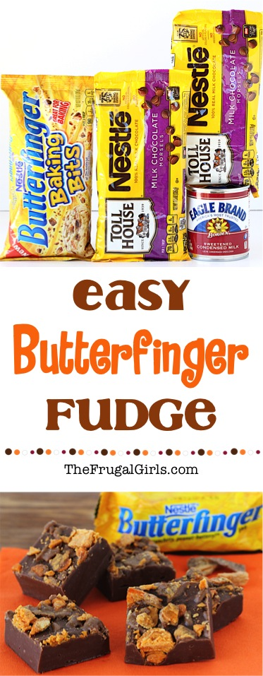 Easy Butterfinger Fudge Recipe at TheFrugalGirls.com