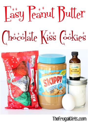 Peanut Butter Chocolate Kiss Cookies Recipe from TheFrugalGirls.com